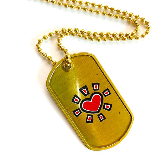 "Official ""Spread Love Army"" Gold Dog Tags"