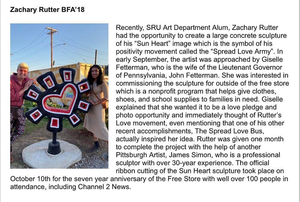 SRU - Zachary Rutter - Sun Heart Sculpture - Braddock