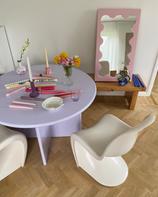 Round Table 1100 Lilac & Curvy Mirror Mini Pink
