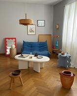 Curvy Mirror Mini Red, Chunky Table Mini White & Curvy Table Mini Light Blue
