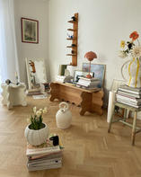 Curvy Table Mini White & Curvy Bench Oak