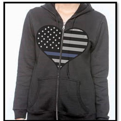 TBL Bling Heart Zip Up Hoodie Jacket