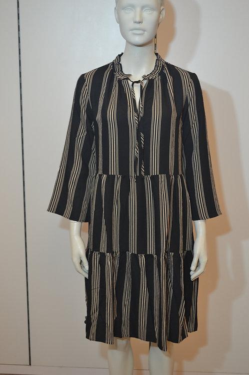 0039 Italy Kleid mit Streifen schwarz beige