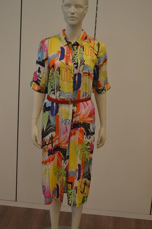 Frogbox Kleid mit bunten Print lang