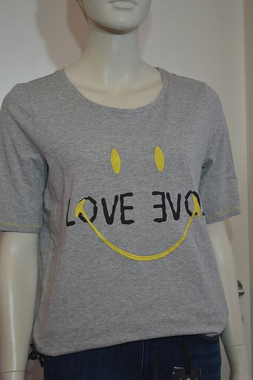Oui T-Shirt grau mit Smiley