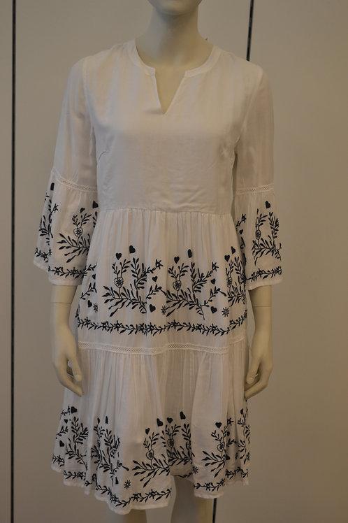 Frogbox Kleid weiß mit blauer Stickerei