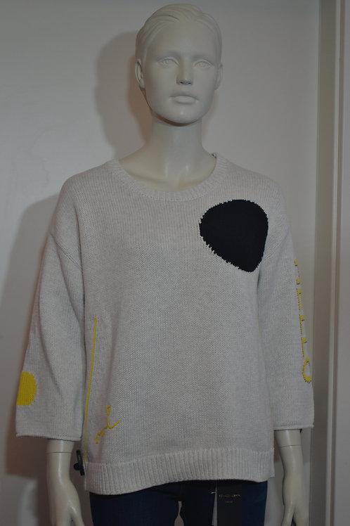 Oui Pullover grau und schwarzerPunkt