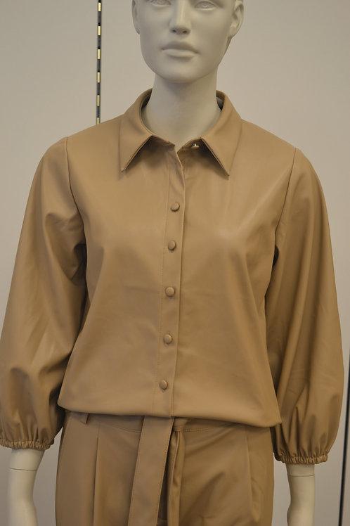 Opus Fakelederhemd beige