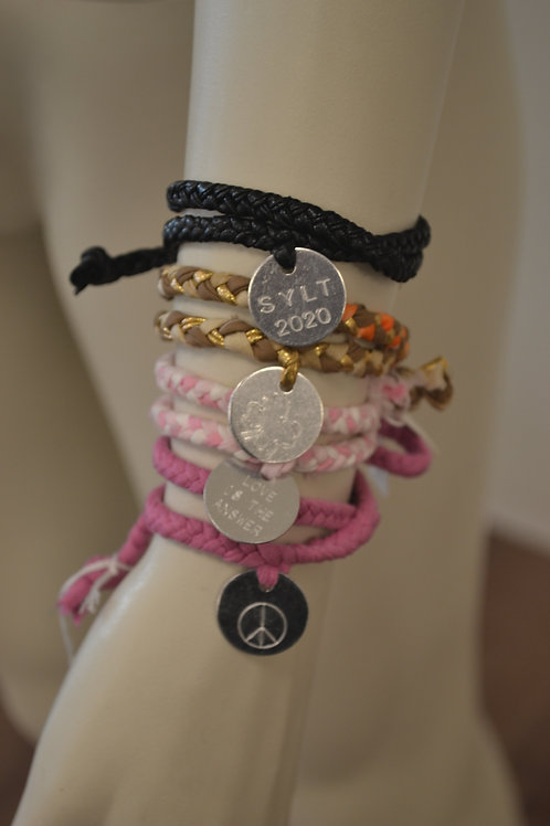 Sylt Boheme Armband mit Silberplakette