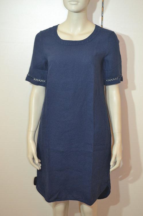 0039 Italy Leinenkleid dunkelblau