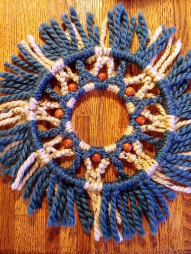 macrame Seaflower circle hanging