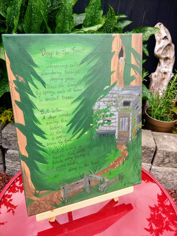 Forest painting with original poetry