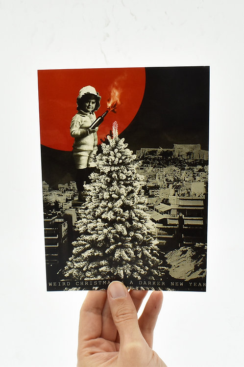 Weird & Merry Christmas postcard set