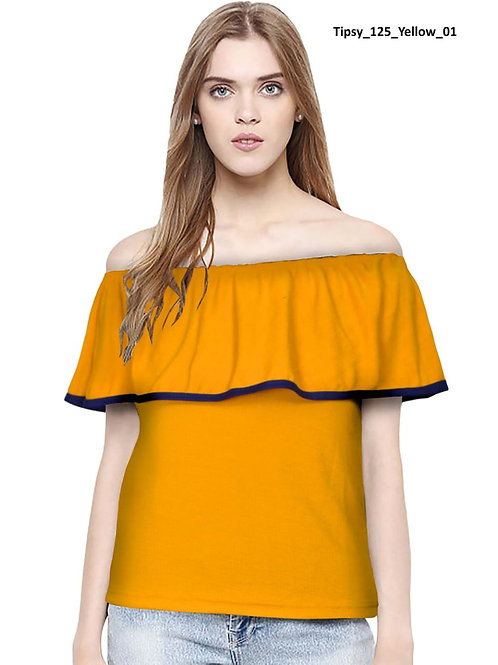 Tipsy T-Shirt Imported Knitting Fabric Off Shoulder Top