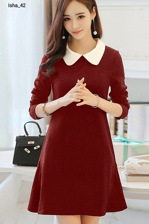 Western Dress Knitting Fabric Cap Sleeves Full Stiched