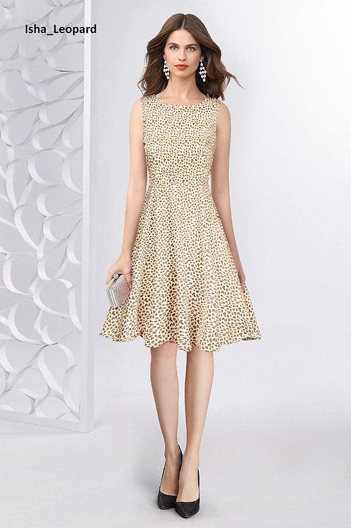 Leopard Dots Dress with Belt Fabric Crepe