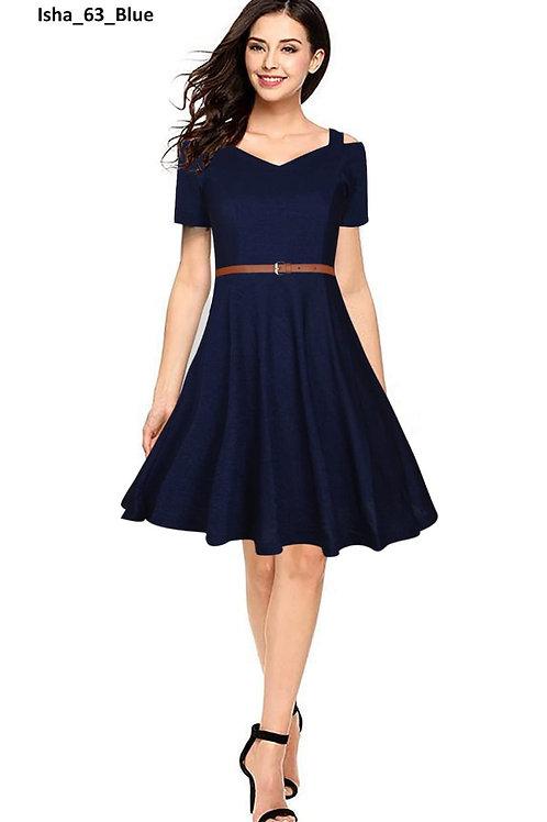Off Shoulder Designer Dress Stretchable Material with Belt