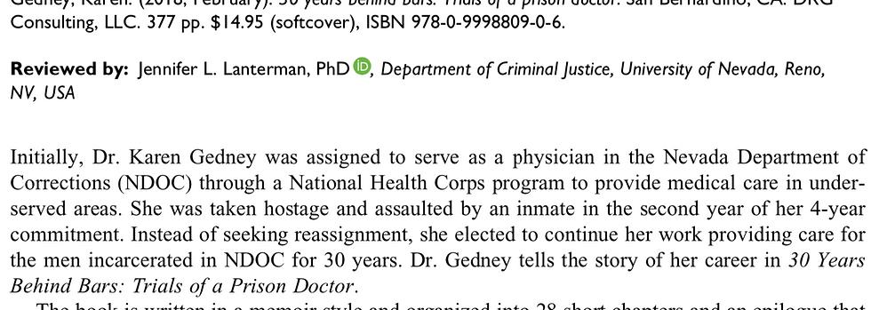 Reviewed by: Jennifer L. Lanterman, PhD   , Department of Criminal Justice, University of Nevada, Reno, NV, USA
