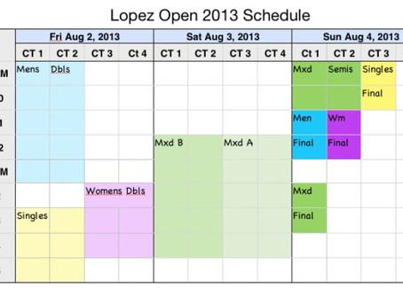 Lopez Open 2013 Schedule