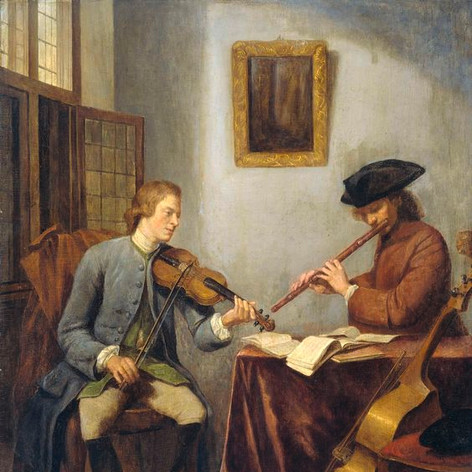 1755 - A violinist and a flutist making music by Julius Henricus Quinkhard