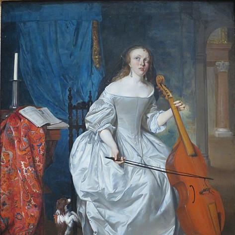 Woman Playing the Viola da Gamba by Gabriël Metsu
