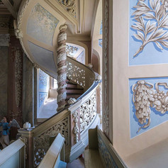 Baroque stairs in the Castle Church of Eisenberg in Thuringia.