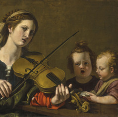 Early 17th Century, A woman playing the violin with two children singing by  Nicolas Tournier