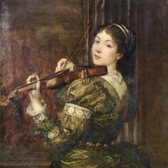 1877 - Blanche, Lady Lindsay, playing the violin by George Frederic Watts