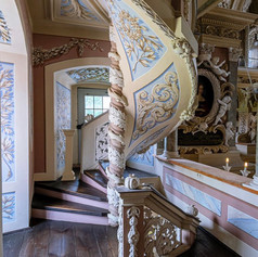 Baroque stairs in the Castle Church of Eisenberg in Thuringia.⠀