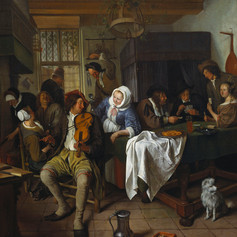 1665 - Interior of a Tavern, with Cardplayers and a Violin Player by Jan Steen
