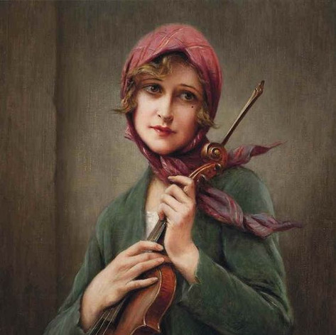 Late 19th Century. A young girl with a violin