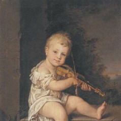 1794 - Portrait of the artist's son playing the violin, seated on a stone ledge in a landscape by Barbara Steiner Krafft