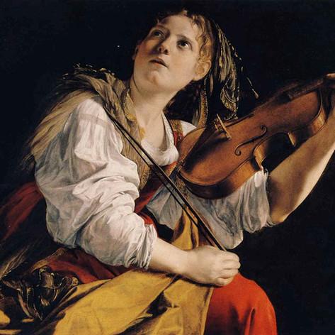 1612 - Young Woman playing a Violin by Orazio Lomi Gentileschi