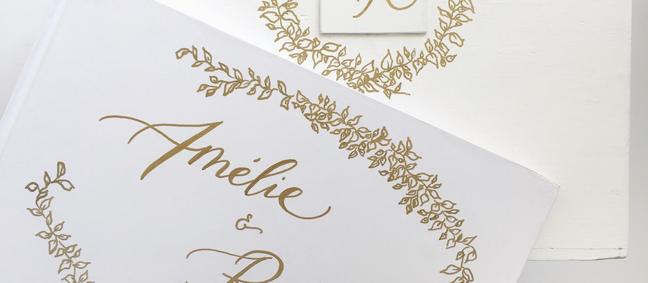 Comment dessiner une couronne végétale / How to draw a leaf wreath Freebies Wedding Calligraphy