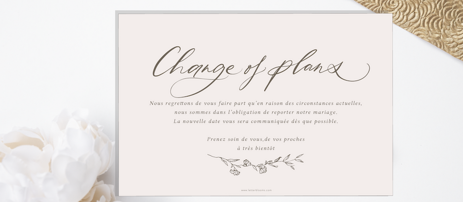 Carte de mariage à télécharger  - Change of plans - FR & EN