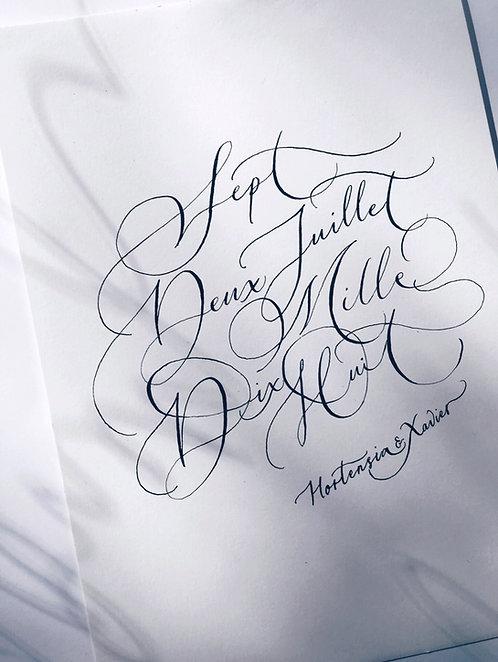 Date en calligraphie avec le(s) prénom(s)