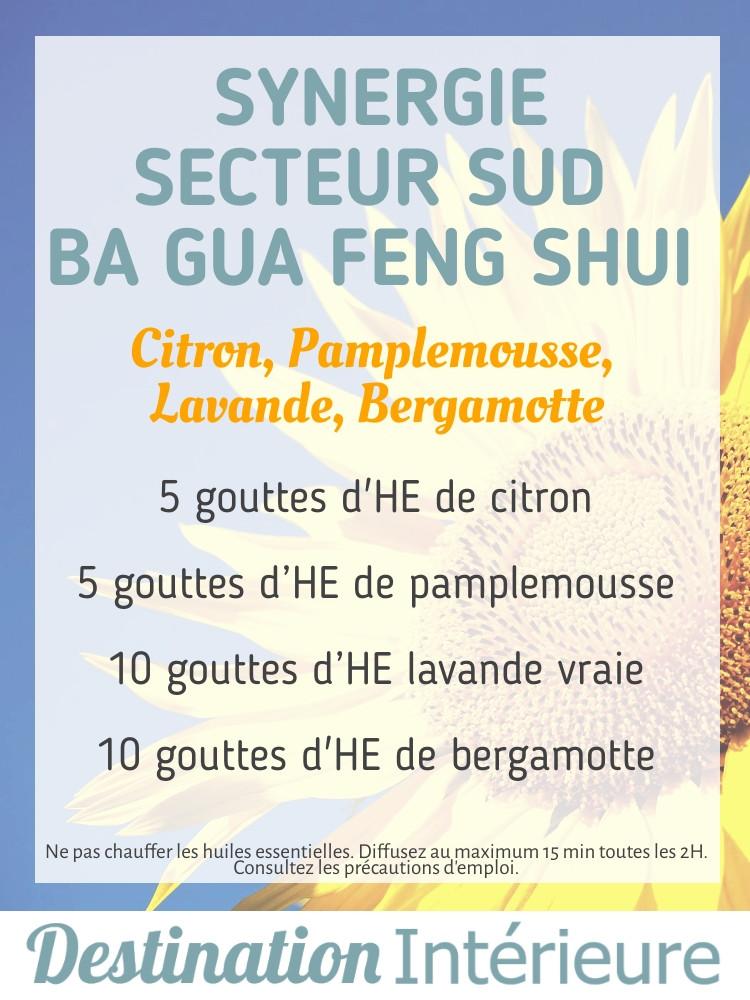 Huiles essentielles Secteur Sud Ba Gua Feng Shui Citron, Pamplemousse, Lavande vraie, Bergamotte