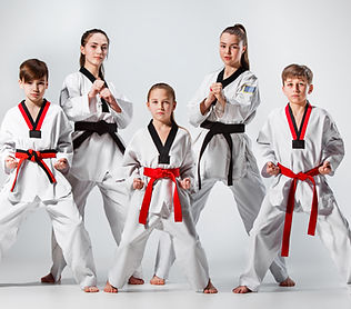 The studio shot of group of kids trainin