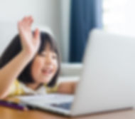 Asian girl student online learning class