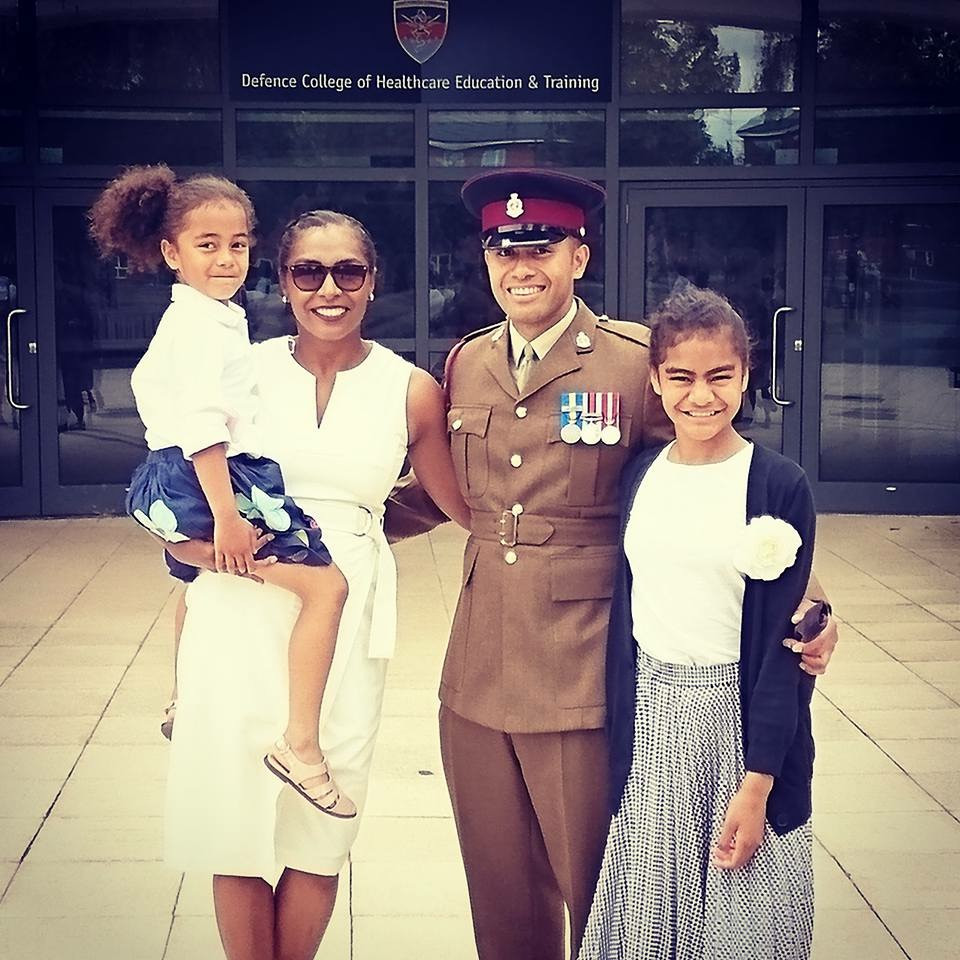 Fijian In The UK - WIth my husband and my daughters at the Defence Healthcare College at his university graduation ceremony