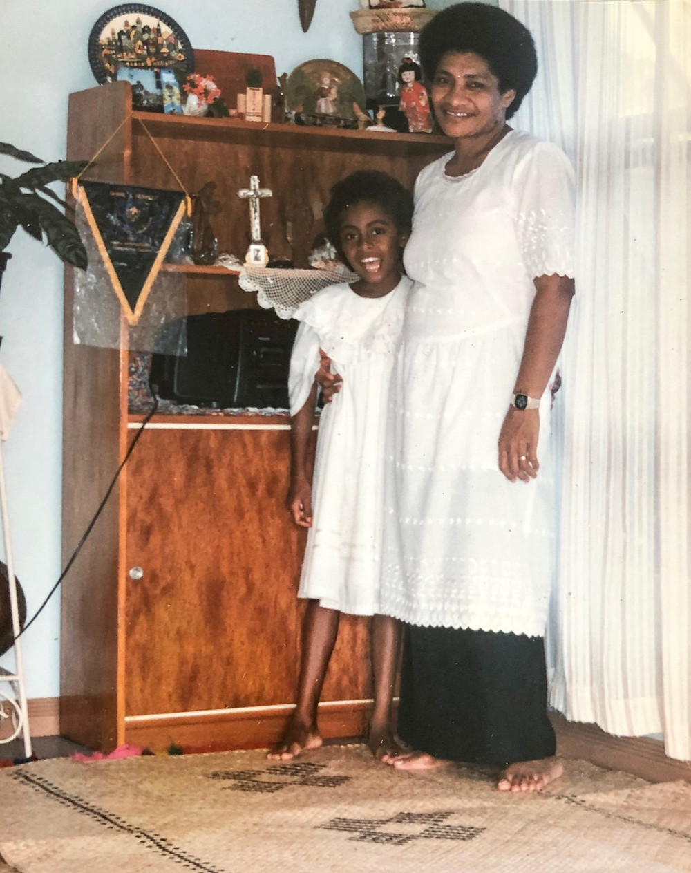 Fijian In The UK - My mother & I in our Sunday best