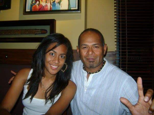 Fijian In The UK - Sainimili with her Dad at Hard Rock Cafe, Denarau, Fiji, 2008