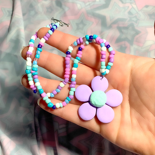 Purple flower beaded necklace