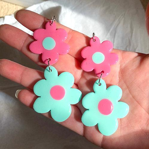 Wonky fleurz: mint + pink