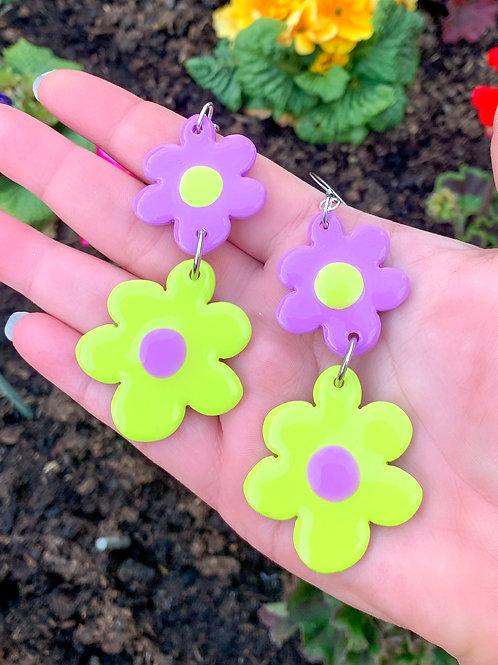 Wonky fleurz: purp + green