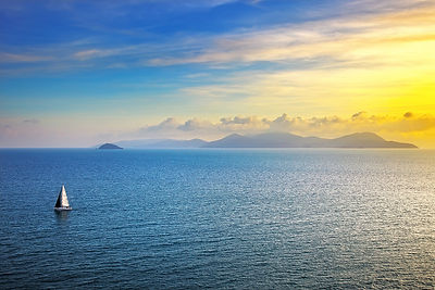 Elba island sunset view from Piombino