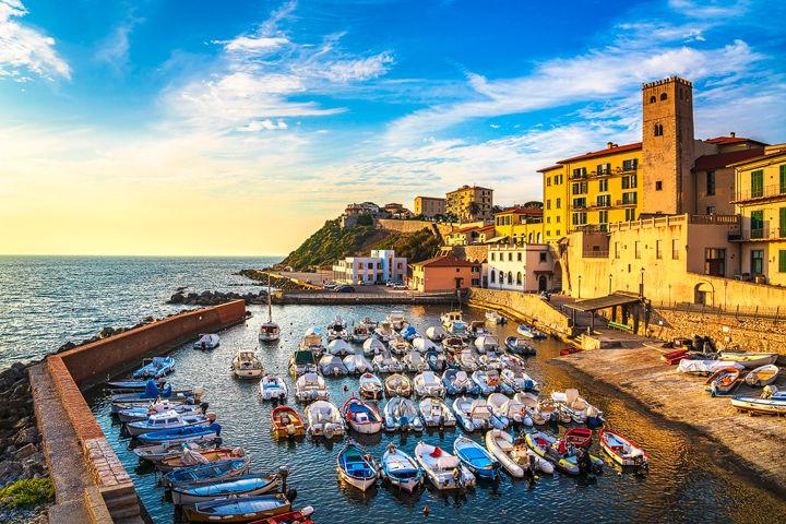 Piombino, little marina at sunset