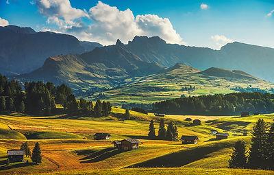 Seiser Alm Wooden Huts. Dolomites