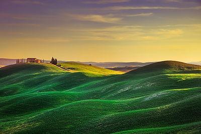 Rolling Hills at Sunset in Crete Senesi