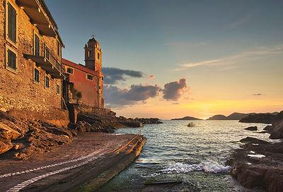 Tellaro Church and Sea at Sunset